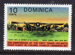 DOMINICA - 1978 AVIATION ANNIVERSARY LINDBERGH 10c STAMP FINE MNH ** SG605 - Dominica (...-1978)