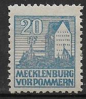 Deutschland Sowjetische  Zone Mecklenburg Vorpommern 38y Abart Error White Spot In Side Of Building - Sowjetische Zone (SBZ)