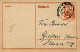 HEINSBERG-KIPSDORF  - 1921 ,  Bahnpost ZUG 2927 - Ganzsache Nach Giessen - Deutschland