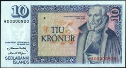 ICELAND - 10 Kronur L.29.03.1961 {Prefix #A00000922} UNC P.48 - Islandia