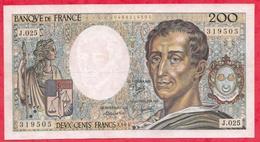 "200 Francs ""Montesquieu"" 1987-----XF/SUP+---SérieF.045  ---AUCUN TROU D EPINGLE- - 1962-1997 ''Francs''"