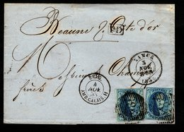 7 (2X) Sur LAC Expédiée De NAMUR à Destination De BEAUNE (France), Cachet De L'ambulant MIDI N°2 + D'arrivée Au Verso. - 1851-1857 Médaillons (6/8)