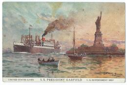 CPA USA New York S.S Président Garfield United Lines  Bateau Navire Statue De La Liberté - NY - New York