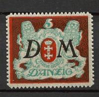 Danzig Duty Stamps 1921 Mi.Nr.: 21 Coat Of Arms 5 Mark Mint Hinged X - Danzig