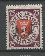 """Danzig Duty Stamps 1924 Mi.Nr.: 51 Coat Of Arms """"Dienstmarke"""" 75 Pfg Mint Hinged X, - Danzig"""