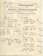 Facture 191? / 52 Gare D'ANDILLY Par Varennes / A. JOUHANDEAUX / Café Restaurant / Loge à Pied Et à Cheval - France