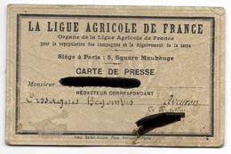 Carte De Presse - Rédacteur Correspondant Aveyron - La Ligue Agricole De France - 1902 - Cartes