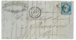 N° 14 BLEU NAPOLEON SUR DEVANT DE LETTRE / PANTIN POUR BEAUVAIS - 1849-1876: Période Classique