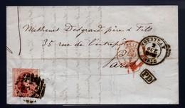 12A Sur LAC Expédiée De COURTRAY à Destination De PARIS. Cote 210,00 € - 1858-1862 Medaillen (9/12)
