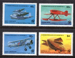 DOMINICA - 1983 MANNED FLIGHT ANNIVERSARY SET (4V) FINE MNH ** SG853-856 - Dominica (1978-...)