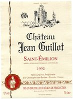 Etiquette (8,9 X12) Château JEAN GUILLOT 1992 St Emilion  Henri Castan Propriétaire à St Christophe Des Bardes 33 - Bordeaux