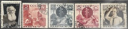 Russia  1935-6   Sc#578a,584-6, 588a  Tolstoy & 4 Pioneers Used   2016 Scott Value $7.20 - 1923-1991 USSR
