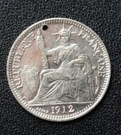 Jeton De Mariage Fait à Partir D'une 10 Cent Indochine Argent 1912 - Denier à épouser - Arras De Boda - Profesionales/De Sociedad