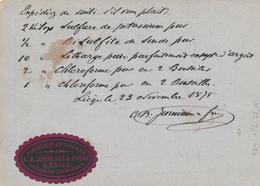 365/28 -- VIGNETTE / LABEL Porcelaine Et Cristaux Jonniaux à LI EGE - Sur Entier Postal LIEGE 1875 Vers BONN - Erinnophilie