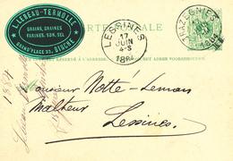366/28 -- VIGNETTE / LABEL Grains Lebeau-Termolle à BINCHE - Sur Entier Postal TRAZEGNIES 1884 Vers LESSINES - Erinnophilie