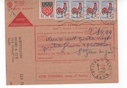 COQ DE DECARIS CONTRE REMBOURSEMENT CHEQUES POSTAUX - 1962-65 Cock Of Decaris