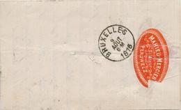 371/28 -- VIGNETTE / LABEL Mahieu-Mercier , Filateur S/lettre TP 30 PERUWELZ 1876 - Erinnophilie