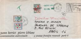 COQ DE DECARIS LETTRE TAXEE - 1962-65 Cock Of Decaris