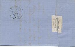 372/28 -- VIGNETTE / LABEL Berteaux Frères à GOSSELIES S/lettre TP 30 GOSSELIES 1872 - Peu Commun à Cette époque - Erinnophilie