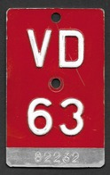 Velonummer Waadt VD 63 - Plaques D'immatriculation