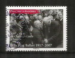 Anniversaire De La Visite Officielle Du Général De Gaulle En 1967 En ANDORRE.,oblitéré 1 ère Qualité 2017 - De Gaulle (General)
