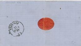 374/28 -- VIGNETTE / LABEL Heuse Frères , Meuniers à NESSONVAUX S/lettre TP 30 Déf. D.C. NESSONVAUX 1872 - Erinnophilie