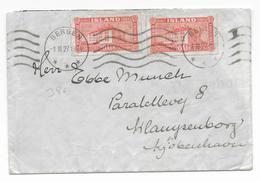 1927 - OBLITERATION De NORVEGE Sur TIMBRE ISLANDE : LETTRE => COPENHAGUE (DANEMARK) OBLITEREE à BERGEN - MARITIME - 1918-1944 Administration Autonome