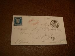 D302/ NAPOLEON N° 14 SUR LETTRE - 1853-1860 Napoléon III