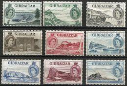 Gibraltar  - 1953 QEII Definitives  MNH **   Sc 132-40 - Gibraltar
