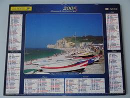 Almanach Du Facteur 2005 Recto Plage D'étretat ( 76  )  Verso Port De Doelan  (29  ) - Calendriers