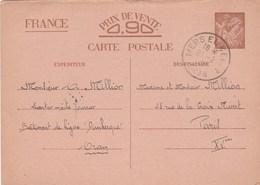 ENTIER IRIS 0.90C MER EL KEBIR ORAN 21/2/41 BATIMENT DE LIGNE DUNKERQUE POUR PARIS - Entiers Postaux
