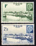 Togo N°  215 / 16 X  :  Baie De Mono Et Effigie Du Mal Pétain La Paire Trace De  Charnière Sinon TB - Ungebraucht