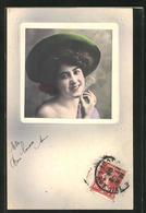 AK Hübsche Junge Frau Mit Grünem Hut - Moda