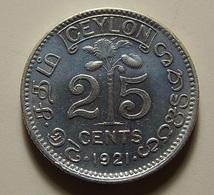 Ceylon 25 Cents 1921 Silver - Sri Lanka