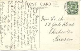 POSTMARK - MORN HILL CAMP - WINCHESTER - ON POSTCARD INTERIOR OF WINCHESTER CATHEDRAL - 1916 - Postmark Collection