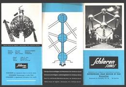 Folder / Brochure / Dépliant Bruxelles / Brussel Expo 58 - Schlieren Suwis Ascenseurs (Zürich) / Jean Beguin & Fils - Reclame