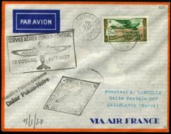 AFRIQUE EQUATORIALE FRANCAISE - 1ère Liaison Aérienne CONGO/SENEGAL/SENEGAL/MAROS 20/MAI/37 - C.S - TB - Brieven En Documenten