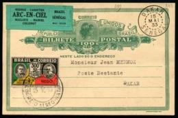 BRESIL - Vol ARC-EN-CIEL BRESIL/SENEGAL 15/MAI/1933 - E.P + Vignette - RARE - TB - Poste Aérienne