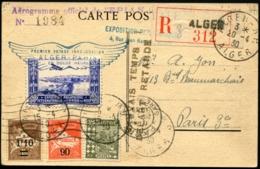 """ALGERIE - 1er Vol ALGER/PARIS En Duze Heures 20/4/30 + Griffe """"MAUVAIS TEMPS/DEPART RETARDE"""" - TB - Algérie (1924-1962)"""