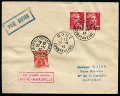 ALGERIE - 1er Service BONE/MARSEILLE 25/11/47 - C.S - TB - Algérie (1924-1962)