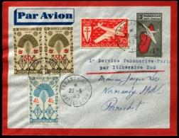 MADAGASCAR - 1er Service TANANARIVE/PARIS Par Itinéraire Sud 23/5/45 - TB - Madagascar (1889-1960)