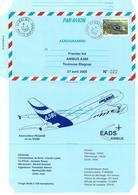 FRANCE 2005 AEROGRAMME PREMIER VOL AIRBUS A380 TOULOUSE BLAGNAC 27 04 2005  N° 022 / 100 - Aérogrammes