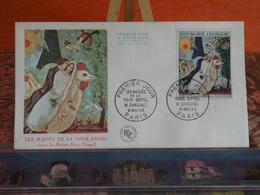 Les Mariés De La Tour Eiffel Marc Chagall - Paris - 9.11.1963 FDC 1er Jour - Coté 10€ - 1960-1969