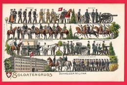 SOLDATENGRUSS - SCHWEIZER MILITAR - UNIFORMI - SUISSE HELVETIA - GAUFREE - ARMEE SUISSE - Uniformi
