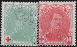 Belgie  .   OBP       .     129/130          .        O   .       Gebruikt    .   /  .      Oblitéré - 1914-1915 Croix-Rouge