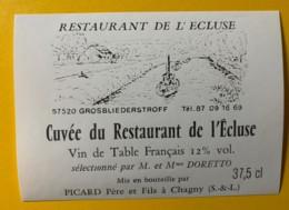 9772 - Cuvée Du Restaurant De L'Ecluse à Grosbliederstroff Moselle - Etiquettes
