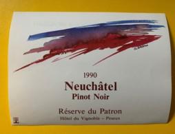 9787 - Pinot Noir 1990 Neuchâtel Réserve Du Patron Hôtel Du Vignoble Peseux Suisse - Etiquettes