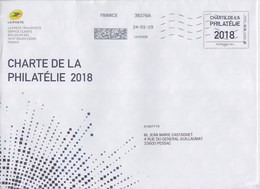 = Prêt à Poster Enveloppe Philaposte International 100g Oblitérée 24.01.19 Charte De La Philatélie 2018 - Postal Stamped Stationery
