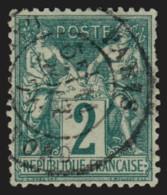 N°62, Sage 1876, 2c Vert, Type I, Oblitéré - COTE 340 € - 1876-1878 Sage (Type I)