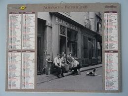 Almanach Du Facteur 2008 Recto La Famille Du Blanchisseur Verso  4 Cv Renault Famille En Vacances Au Sable D'olonne 85 ) - Calendriers